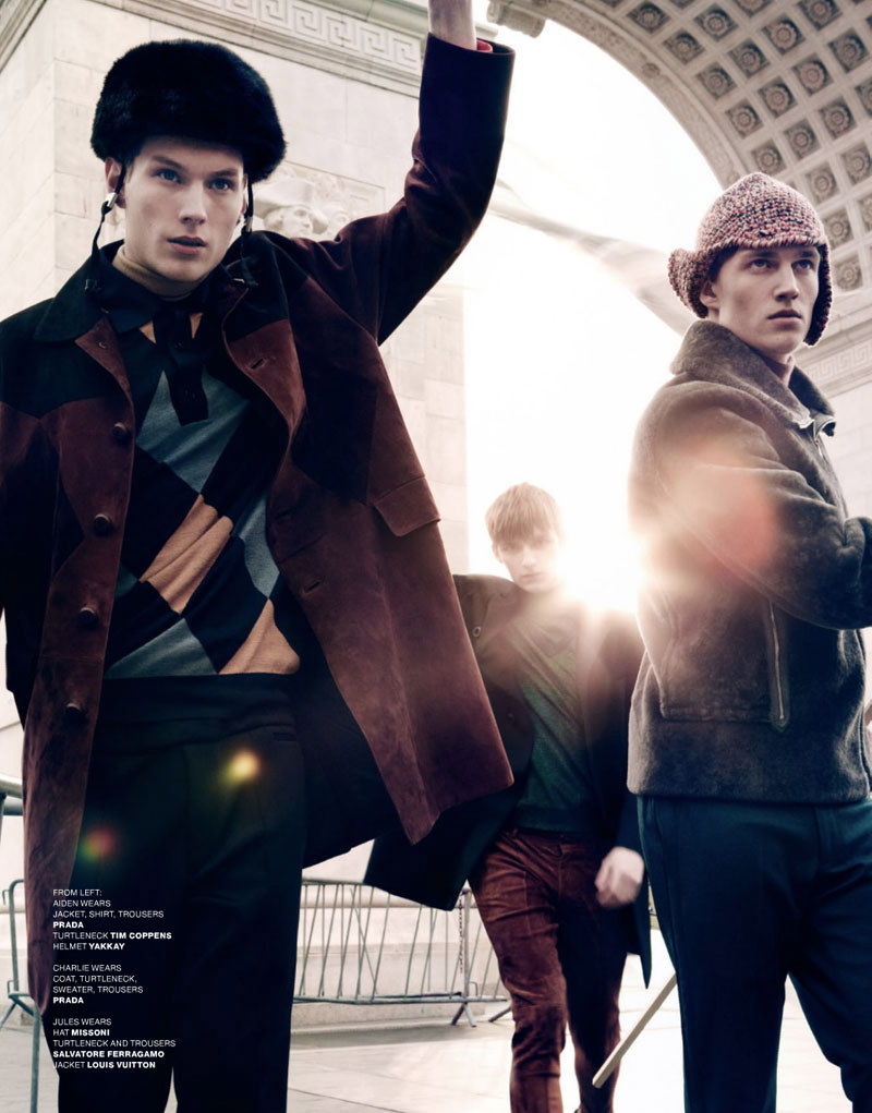 V3 Aiden Andrews, Ben Black, Charlie Westerberg, Christian Plauche, Jules Hamilton, Lawrence Stiers, Philip Kharabarin & RJ King by Sharif Hamza for <em>VMAN</em>
