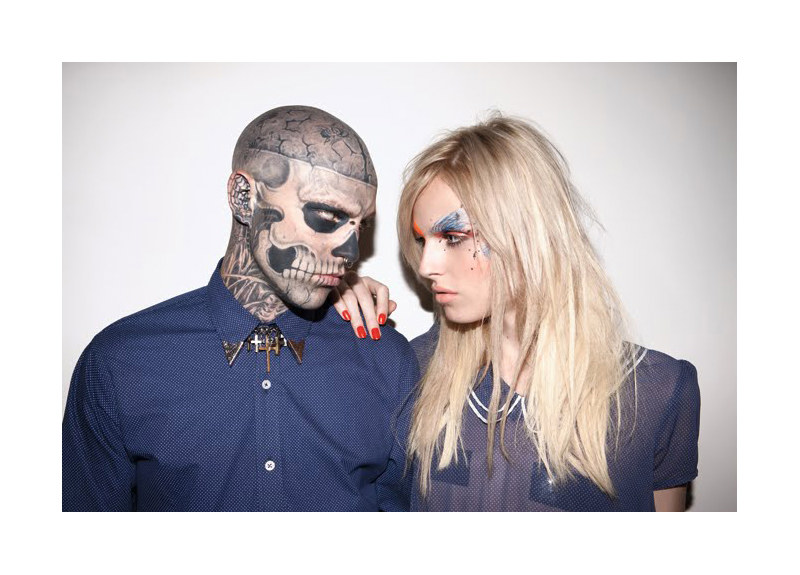 Auslander3 Andrej Pejic &amp; Rick Genest by Marcelo Krasilcic for Auslander Spring 2012 Campaign